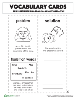 Vocabulary Cards: Problem and Solution Practice
