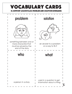 Vocabulary Cards: Problem and Solution Summaries