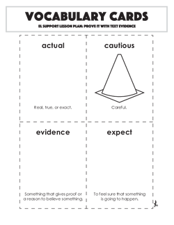 Vocabulary Cards: Prove It With Text Evidence