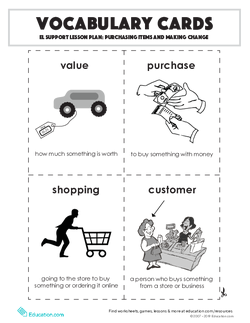 Vocabulary Cards: Purchasing Items and Making Change