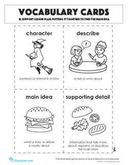 Vocabulary Cards: Putting it Together to Find the Main Idea