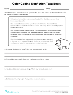 Color Coding Nonfiction Text: Bears