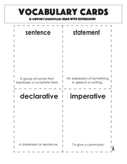 Vocabulary Cards: Read with Expression!