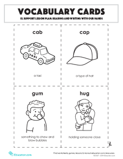 Vocabulary Cards: Reading and Writing With Our Hands