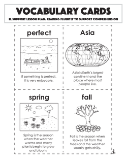 Vocabulary Cards: Reading Fluently to Support Comprehension