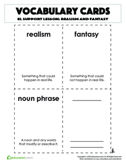 Vocabulary Cards: Realism and Fantasy