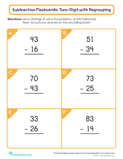 Subtraction Flashcards: Two-Digit with Regrouping