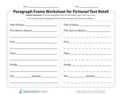 Paragraph Frame Worksheet for Fictional Text Retell