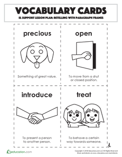 Vocabulary Cards: Retelling with Paragraph Frames