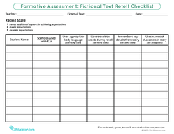 Formative Assessment: Fictional Text Retell Checklist