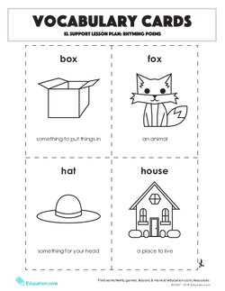 Vocabulary Cards: Rhyming Poems