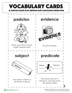 Vocabulary Cards: Sentence Parts and Making Predictions
