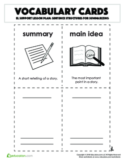 Vocabulary Cards: Sentence Structures for Summarizing