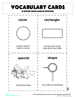 Vocabulary Cards: EL Support Lesson: Shapes in the World
