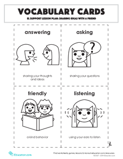 Vocabulary Cards: Sharing Ideas with a Friend