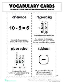 Vocabulary Cards: Sharing the Subtraction Process