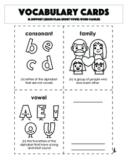 Vocabulary Cards: Short Vowel Word Families