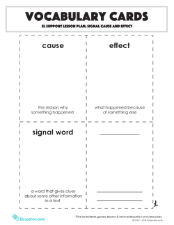 Vocabulary Cards: Signal Cause and Effect
