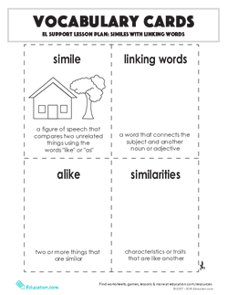Vocabulary Cards: Similes with Linking Words