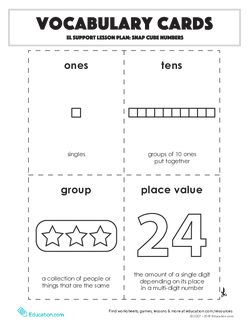 Vocabulary Cards: Snap Cube Numbers