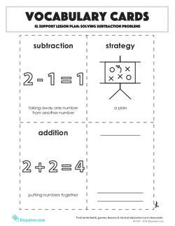 Vocabulary Cards: Solving Subtraction Problems
