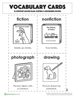 Vocabulary Cards: Sorting & Describing Books