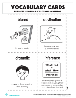 Vocabulary Cards: Steps to Make an Inference