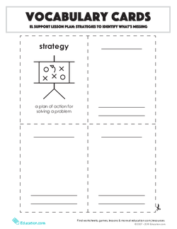 Vocabulary Cards: Strategies to Identify What