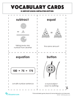 Vocabulary Cards: Subtracting Buttons