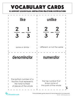 Vocabulary Cards: Subtracting Fractions Justifications