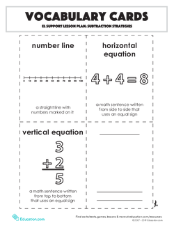 Vocabulary Cards: Subtraction Strategies