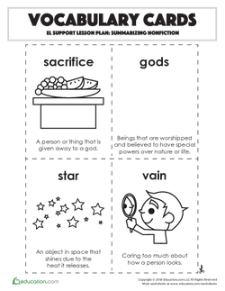 Vocabulary Cards: Summarizing Nonfiction