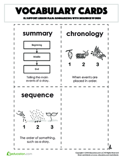 Vocabulary Cards: Summarizing with Sequence Words
