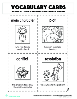 Vocabulary Cards: Summary Writing with Big Ideas