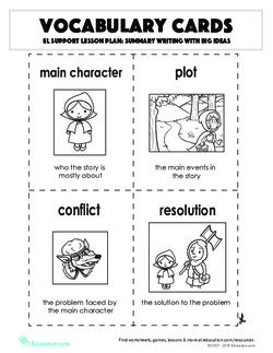 Vocabulary Cards: Summary Writing with Big Ideas