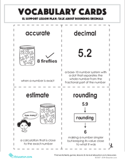 Vocabulary Cards: Talk About Rounding Decimals