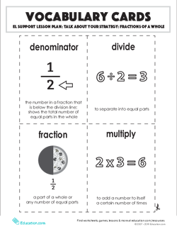 Vocabulary Cards: Talk About Your Strategy: Fractions of a Whole