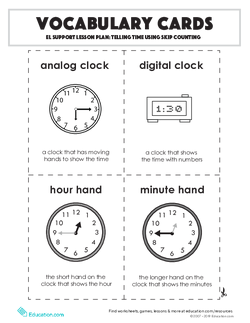 Vocabulary Cards: Telling Time Using Skip Counting