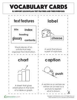 Vocabulary Cards: Text Features and Their Purposes