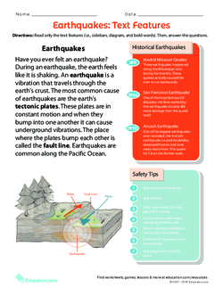 Earthquakes: Text Features