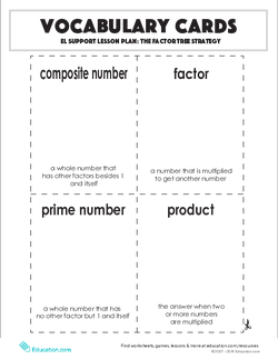 Vocabulary Cards: The Factor Tree Strategy