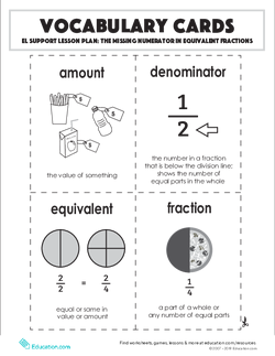 Vocabulary Cards: The Missing Numerator in Equivalent Fractions