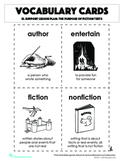 Vocabulary Cards: The Purpose of Fiction Texts