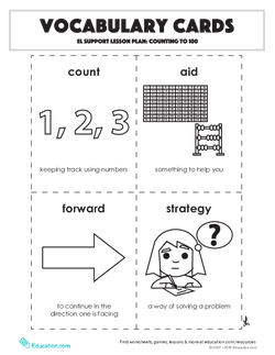 Vocabulary Cards: Counting to 100