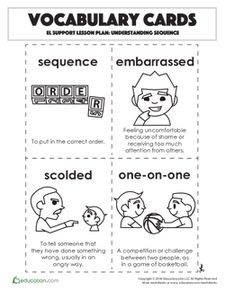 Vocabulary Cards: Understanding Sequence