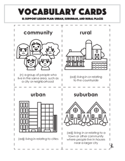 Vocabulary Cards: Urban, Suburban, and Rural Places