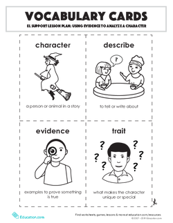 Vocabulary Cards: Using Evidence to Analyze a Character