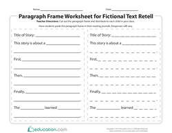 Paragraph Frame Worksheet for Fictional Text Retell