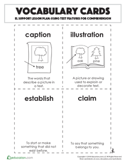 Vocabulary Cards: Using Text Features for Comprehension