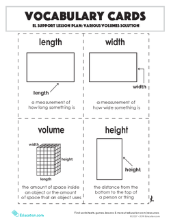 Vocabulary Cards: Various Volumes Solution